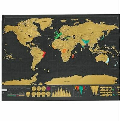 Travel Scratch Off World Map Big Poster Personalized Journal Country Flags lands