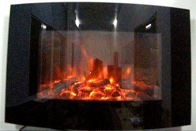 New 2019 Led Colour Flame Effect Truflame Log Curved Wall Mounted Electric Fire