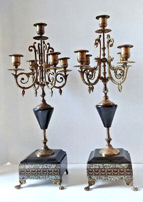 Antique Pair Of French Marble And Brass Candelabra