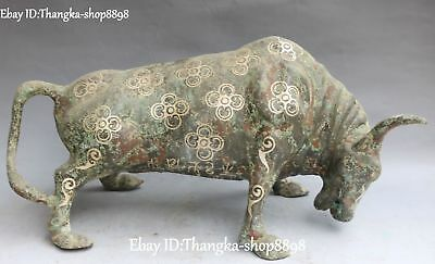 "15"" China Old Bronze Ware Silver Feng Shui Cattle Bull Cow Ox Oxen Animal Statue"