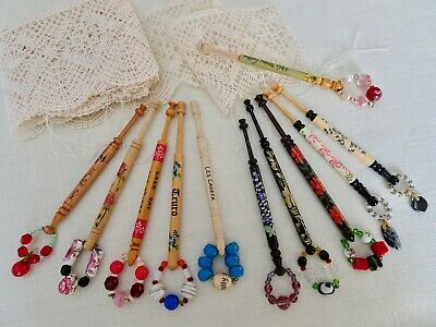 Twelve Various Attractively Decorated Turned Wood Lace Maker's Bobbins