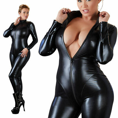 "Wetlook Overall Langarm 3XL 56 58 glanz Jumpsuit Body Übergröße XXXL ""Nadinei"""