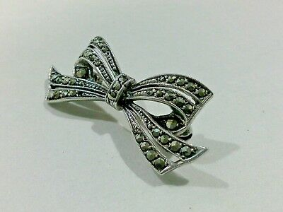 Vintage Art Deco Silver Marcasite Ribbon Bow Brooch C1930's Sterling Silver 935