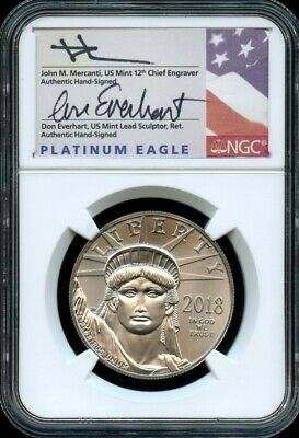2018 American Platinum Eagle NGC MS70 First Day Dual Signature Mercanti/Everhart