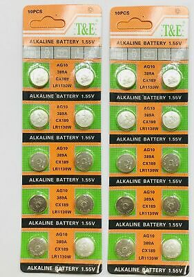 20 X AG10, LR1130W, 389 1.55v Button/Coin Battery Alkaline Cell Best Quality UK