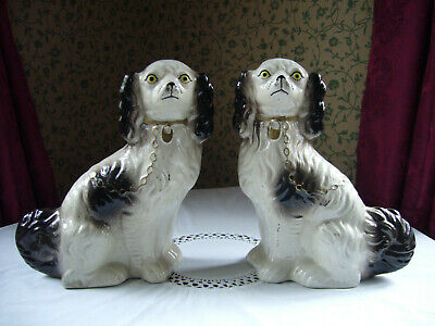 """Pair Of Antique Victorian Staffordshire Mantle Dogs Comforters Spaniels 11"""""""