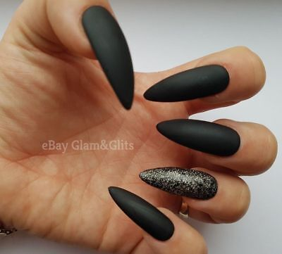 24 Hand Painted Gel False Nails - Matte Black Glitter - Coffin Stiletto Square