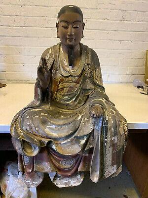 Antique Japanese Carved Lacquered Painted Wood Buddha Bodhisattva Carved Statue