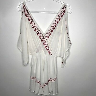 22ecc15a5a68 Band of Gypsies Womens Sz XS Moroccan Embroidered Romper Playsuit White Red  NWT