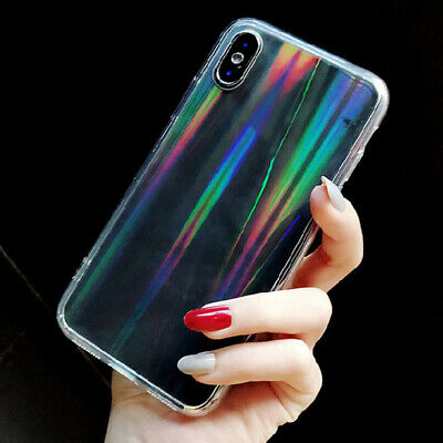 Transparent Bling Aurora Acrylic Back Clear Phone Case Cover For iPhone XS X 8 7