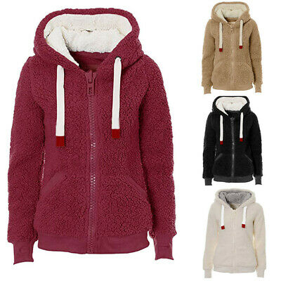Womens Ladies Winter Soft Teddy Sherpa Fleece Hooded Jumper Hoody Jacket Coat L