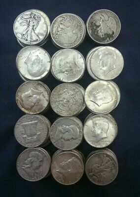 $75.00 Face Value 90% Silver Half Dollar Mix, Walkers Franklin Kennedys
