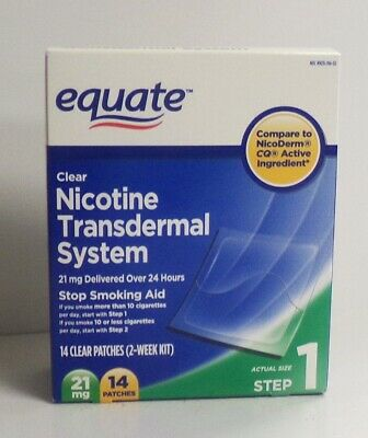 Equate Clear Nicotine Transdermal System,14 Patches, 21 MG, Step 1,  Exp 09/2020
