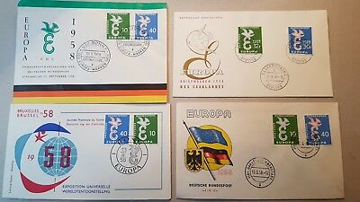 "GERMANY 1958 4 FDC's FIRST DAY COVER or ERSTTAGSBRIEF  C E P T ""EUROPE"" (1 SAAR)"