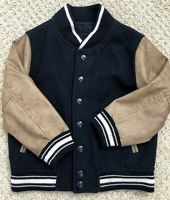 494e74ed8 BABY GAP KIDS Boys Varsity Style bomber Jacket Size 4 Navy and Tan ...