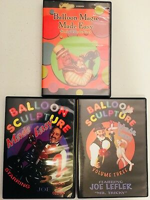 Set of 3 ~ Balloon Sculpture #1 #2 and #3 ~ Made Easy (DVD) Joe Tricky The Clown