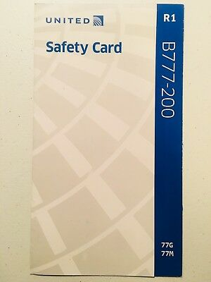 2016 UNITED AIRLINES SAFETY CARD - Boeing B777-200 77G/77M ~ 777 Collectible