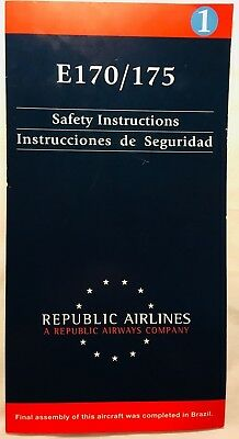 Republic Airlines Airways Embraer E170/175 Safety Card - United, American, Delta
