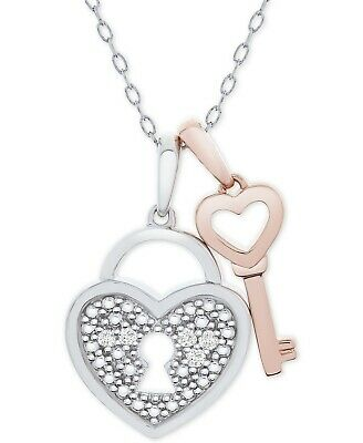 "Diamond Accent Heart Lock Key 18"" Pendant Necklace Sterling Silver 14k Rose Gold"