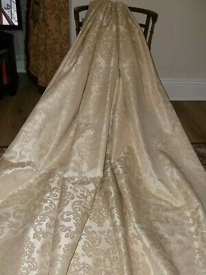"""Huge Chateau Chic Jacquard Gold Damask Lined Curtains 90"""" X 90"""""""