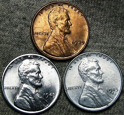 1939 1943 1943-S Steel Lincoln Cent Wheat Penny---- Gem BU Lot ---- #P507