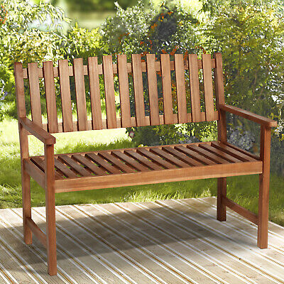 Outsunny 120cm Garden Bench 2 Seater Outdoor Acacia Wood Slatted Patio Seat