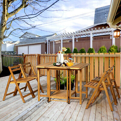 Outsunny 5Pcs Acacia Wood Dining Set Expandable Table Folding Chairs Outdoor