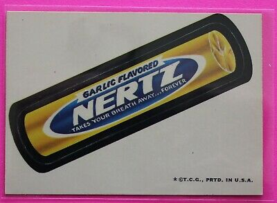 1973 Topps Series 2 Garlic Flavored NERTZ Wacky Packages White Back EX Cond.