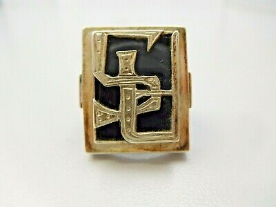 6200// Antiker Art Deco Initialen Siegel Ring 900 Silber Onyx Platte Antique !!
