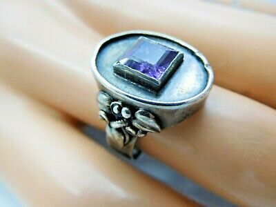 6202// Antiker Art Deco Ring 800 Silber Amethyst Antique !!