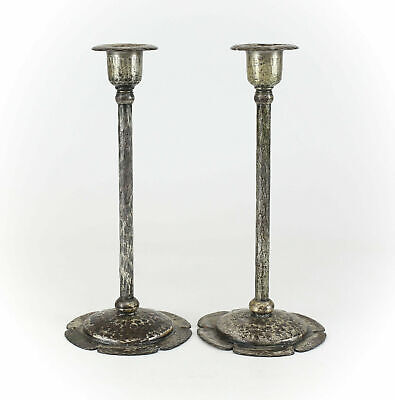 Pair of Roycroft Arts & Craft Hand Hammered Silverplated Cooper Candlesticks