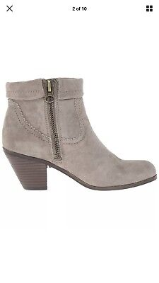 20eb52ac1d95f0 Sam Edelman Louie Grey Gray Suede Fringe Booties Zip Ankle Boots Women s  8.5M