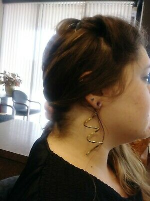 """Vintage! Retro! 3"""" Loose Spiral Earrings In Hollow Brass 1960's-70's"""