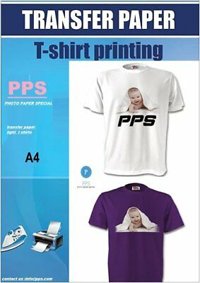 pps  Inkjet Iron on T Shirt Transfer Paper A4 10 Sheets (for Light Fabrics