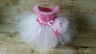 9e2940f5c8a CROCHET INFANT WHITE Dress Pink Heart Shoes and Diaper Cover Baby ...