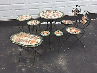 Wrought Iron Outdoor Patio Furniture Mosaic Table Chairs Flower Tiles Used
