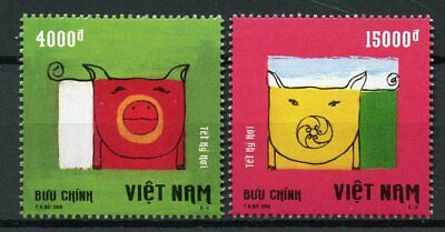 Vietnam 2019 MNH Year of Pig 2v Set Chinese Lunar New Year Stamps