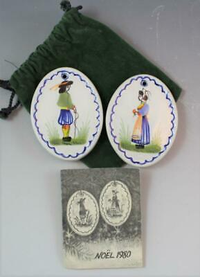 Pair Vintage French Quimper Faience Christmas Ornaments 'Noel 1980' Hand Painted