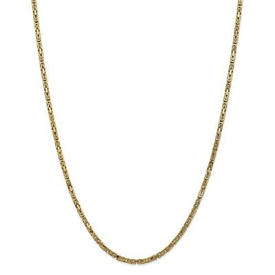 "14k Yellow Gold 2.5mm Solid Plain Byzantine Chain w/ Lobster Clasp 16"" - 30"""