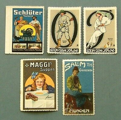 GERMANY 1920s ADVERTISING LABELS X 5 - GOOD CONDITION (LOT 1)