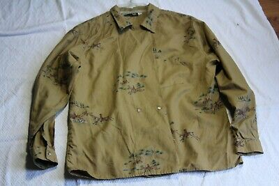 Vintage 1970s Abercrombie & Fitch Double Breasted Fox Hunt Equestrian Shirt Sz 8