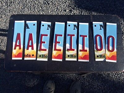 Lot of 8 Cut-up License Plate Letters A E I O