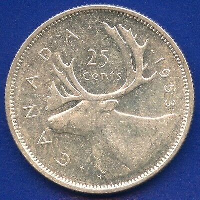 """1953 Canada 25 Cents """"Small Date Shoulder Fold"""" 5.83 Grams .800 Silver"""