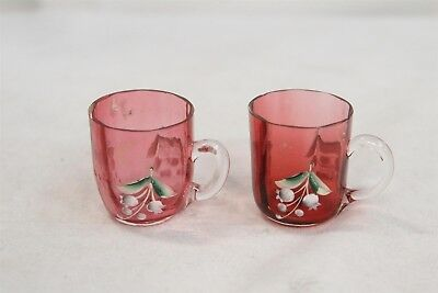 SD Antique Cranberry Glass Pair of Handled Flower Painted Mini Mugs