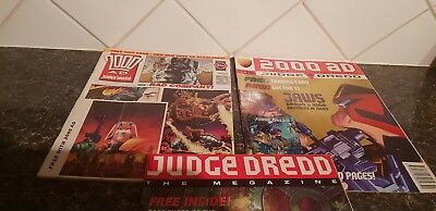 3 Judge Dredd comics.megazine still with free gifts - rare - see pictures