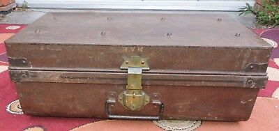 Antique Metal SteamShip Trunk Stamped  MVM The Monarch