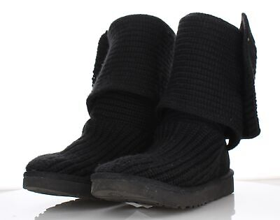 8ca646abccd 2128 UGG CLASSIC Cardy Black Knit Button Tall Boots Women's Sz 7 M