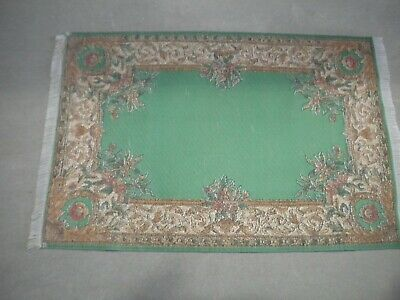 Dollhouse Miniature Green and Brown Rug/Carpet 1:12 Scale