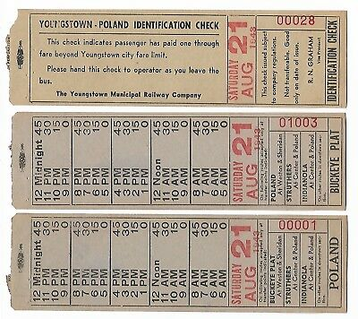 Lot of 3, 1943 WWII YOUNGSTOWN MUNICIPAL RAILWAY RR Bus for Poland Buckeye Plat