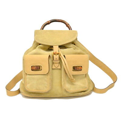 2bf9020c06eb Authentic Gucci Bamboo Suede Leather Backpack Daypack Bag Beige Italy GG  Vintage
